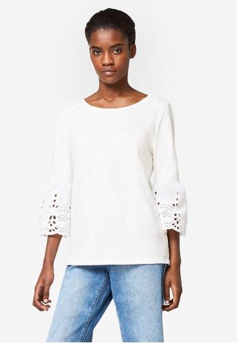 ESPRIT white 3/4 Sleeve T-Shirt 429E9AADB0302FGS_1