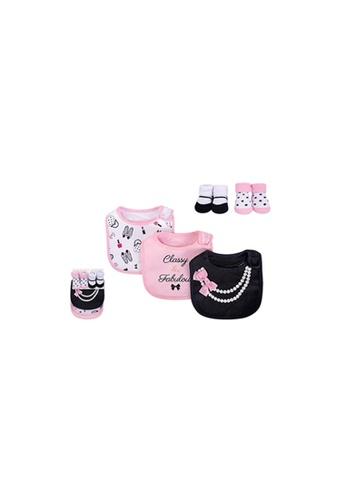 Little Kooma white and pink Baby Bibs n Socks 5 Pcs Set 75507 - 0528 475D4KC1FF7E36GS_1