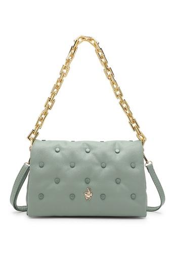 Swiss Polo green Studded Sling Bag C4F56AC0359929GS_1