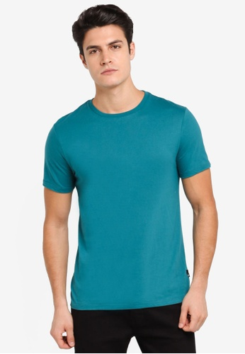Burton Menswear London green Verdant Green Crew Neck T-Shirt BU964AA0T1HCMY_1