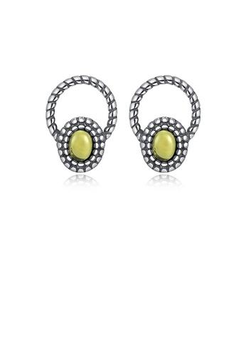 Glamorousky yellow 925 Sterling Silver Fashion Elegant Geometric Round Yellow Imitation Agate Stud Earrings 57E53ACCFFED50GS_1