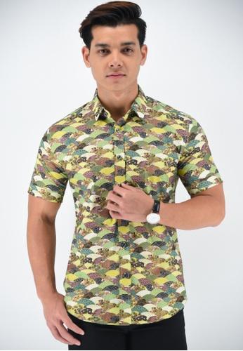 UA BOUTIQUE green Short Sleeve Shirt Batik UASSB45-071 (Green) 6FE0CAAC94428DGS_1