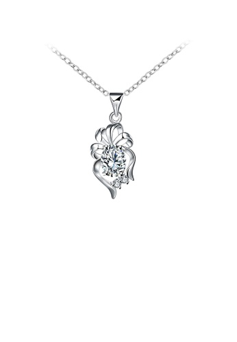 Glamorousky white Elegant Cutout Flower Pendant with White Cubic Zircon and Necklace 0384DAC8CD8B04GS_1