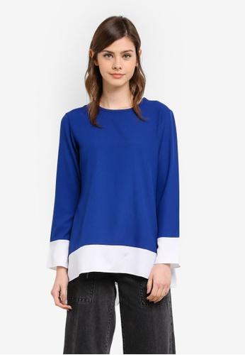 Wafiyya by Dollscarf blue Peony Blouse WA375AA0S761MY_1
