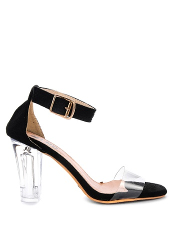 LND black Jasmin Transparent Block Heels 89C00SHC91F3B3GS_1