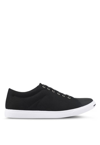 ZALORA black Mixed Material Canvas Sneakers 4D230SH460BE08GS_1