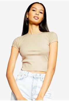 3883e1cce3464 TOPSHOP beige Picot Trim T-Shirt 3BC46AA55331CAGS 1
