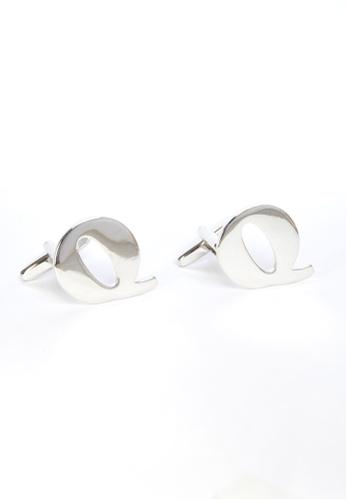 Splice Cufflinks silver Monogram Alphabet Rhodium Plated Cufflinks - Q SP744AC20PRFSG_1