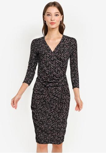 Goddiva multi Wrap Style Printed Bodycon Midi Dress D8FF3AABCB7A3AGS_1