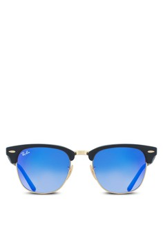 Ray-Ban black and blue and multi Clubmaster Folding RB2176 Sunglasses  RA896GL18UUBMY 1 1b2cb08585