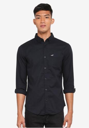 Hollister black Long Sleeve Oxford Shirt EEAEDAA3426253GS_1