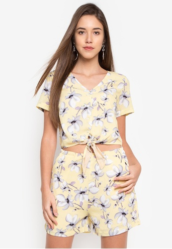 c230bd814381 Shop Pois FLORAL PRINT SHORT SLEEVES ROMPER SHORTS Online on ZALORA ...