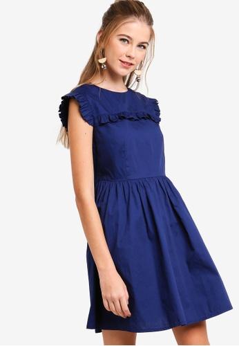 Something Borrowed navy Ruffled Trim Waisted Dress 7F0D1AA81A709CGS_1