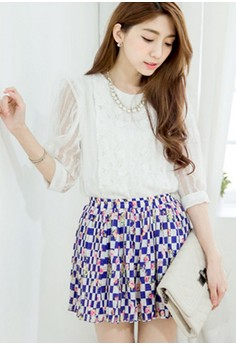 [IMPORTED] Floral Checkers Blooming Skirt - Blue