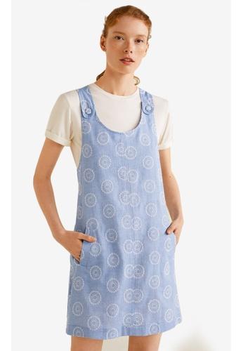 MANGO blue Embroidered Denim Pinafore Dress 2DFA4AA8C58682GS_1