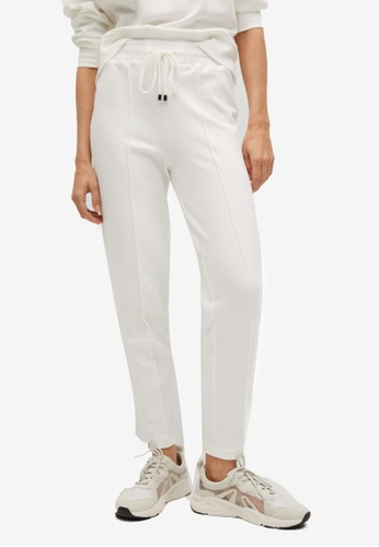 Mango white Drawstring Jogger Trousers DE1CAAADF915FAGS_1