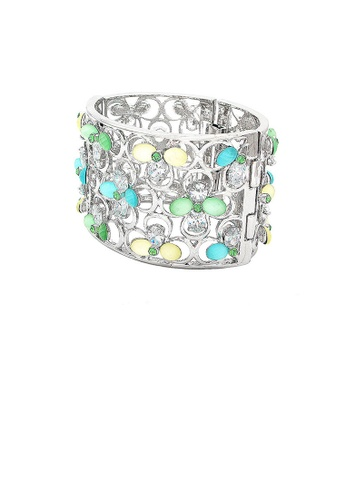 Glamorousky multi Fashion Four-leafed Clover with Colored Cubic Zircon Bangle AD83CAC53BC39FGS_1