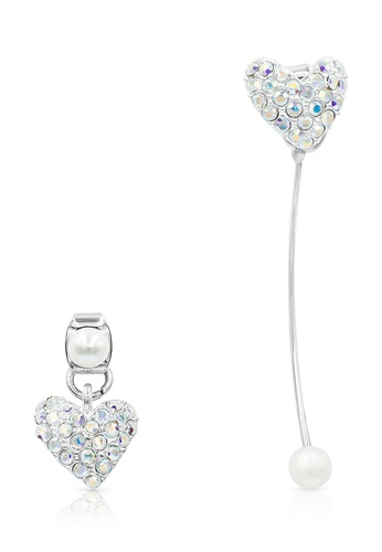 SO SEOUL white and silver Mismatched Heart Detachable Hanging Earring C307CACFE8E095GS_1