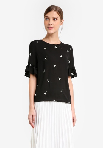 WAREHOUSE black Swallow Embroidered Top EFC51AAA19B040GS_1