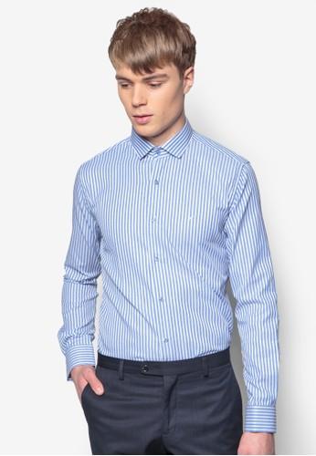 條紋合身長esprit 工作袖襯衫, 服飾, 印花襯衫