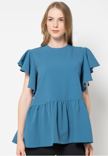 Magnificents Ladies blue Ruffle Short Sleeve Blouses MA179AA67ALWID_1