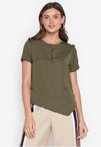 Plains & Prints green Natural Thaddea Short Sleeves Top C24D5AA4A11C65GS_1
