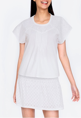 ZALORA BASICS white Broderie & Pleat Detail Top 4778FAA435BED5GS_1