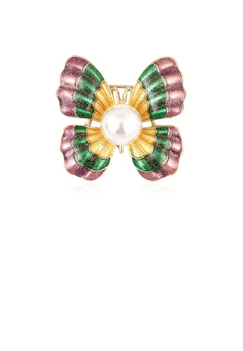 Glamorousky white Fashion Simple Plated Gold Color Butterfly Imitation Pearl Brooch 48325AC09286EDGS_1