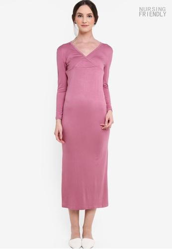 Lubna purple Basic Nursing Inner Dress FC460AA38A6990GS_1