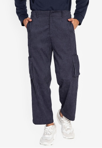 ZALORA BASICS navy Corduroy Trousers 65AC1AA4DA4F1AGS_1