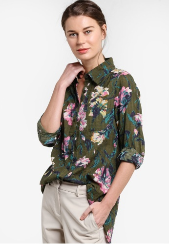 Geb. green Floral Print Blouse GE945AA26ZJTMY_1