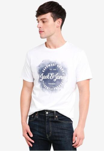 Jack & Jones 白色 Art LOGOSpray 圓領T恤 3B368AA78B615AGS_1