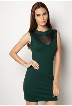 Arielle V-Mesh Bodycon Dress