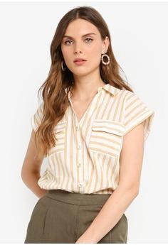 1a5be1a4a4d9b9 Dorothy Perkins orange Ochre Stripe Sleeveless Shirt C6E52AAC51C3F6GS_1