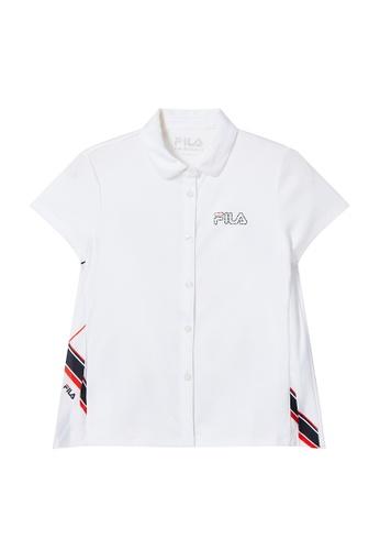 FILA white FILA KIDS Rhinestone FILA Logo Shirt 8-13yrs E7DAFKAAC4BDC2GS_1