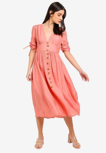 Glamorous pink Gathered Button Midi Dress 5AA92AA1A2302BGS_1