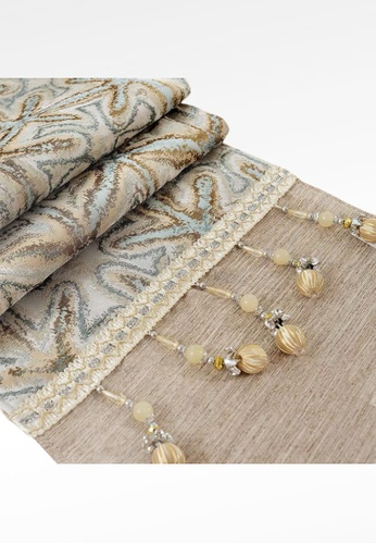 Ayra Home & Living blue and beige Starfish Design Table Runner Drape with Tassle 2315EHL8C77F9FGS_1