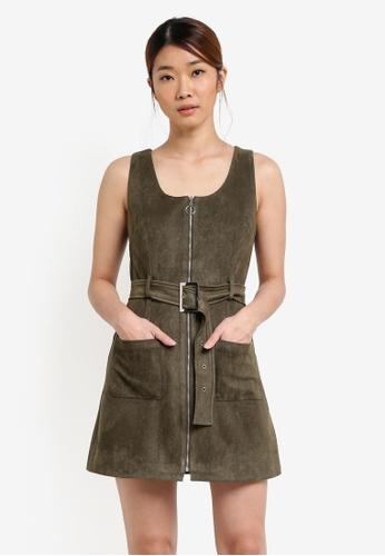 Something Borrowed green Sleeveless Patch Pocket Dress 3420BAA6FF0593GS_1