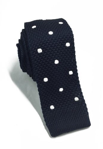 Splice Cufflinks Weave Series White Polka Dots Navy Blue Knitted Tie SP744AC79KTOSG_1