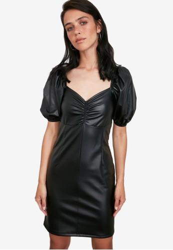 Trendyol black Faux Leather Puff Sleeve Dress 7444BAA131838AGS_1