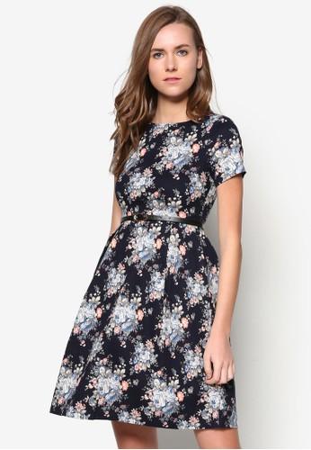 花卉圖案腰飾及膝洋裝, 服飾,zalora 心得 洋裝