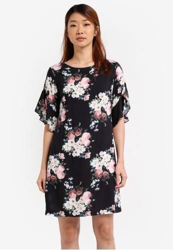 Dorothy Perkins black Petite Floral Shift Dress DO816AA0SRDKMY_1