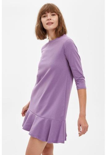 DeFacto purple Woman Dress & Skirt Short Sleeve Knitted Dress 69EF9AAD1C155BGS_1