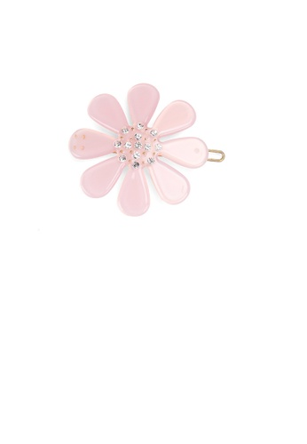 Glamorousky white Fashion Simple Light Pink Flower Hair Clip with Cubic Zirconia C4DCCAC6AF3469GS_1