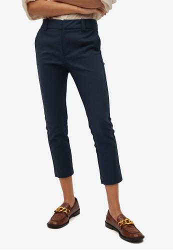 Mango blue Classic Cropped Trousers 543F4AA33D3107GS_1