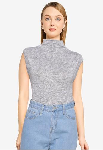 Banana Republic grey Sleeveless Luxespun Mockneck Sweater 66D73AA18830FAGS_1