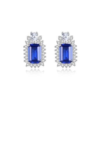 Glamorousky white 925 Sterling Silver Fashion Elegant Pattern Geometric Blue Cubic Zirconia Stud Earrings C7E77AC38CB34FGS_1