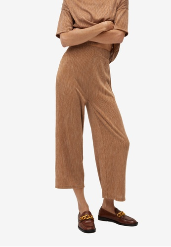 Mango brown Ribbed Culotte Trousers 4310CAABC49FD2GS_1