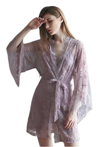 LYCKA purple LMX1053-Lady Lace Pajamas Two Pieces Set-Purple 48AACAA131825CGS_1