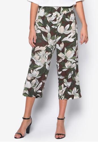 Petite 花卉圖esprit outlet 家樂福案七分褲, 服飾, 長褲及內搭褲